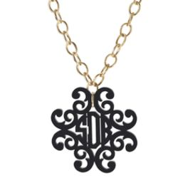 Filigree Cross Monogram Pendant on Greenwich Chain