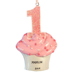 First Birthday Baby Girl Glittered Cupcake Ornament