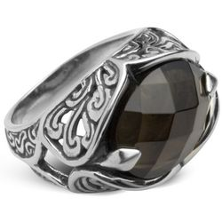 Gorgeous Greens Smoky Quartz Filigree Ring