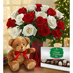 Peppermint Rose Bouquet with Teddy Bear and Chocolate