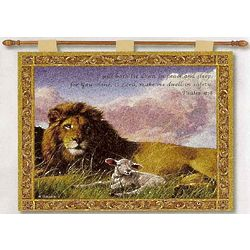 Lion and the Lamb with Bible Verse Tapestry