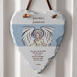 Angel Blessings Personalized Heart Slate