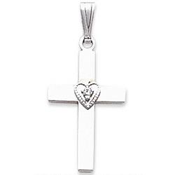 14kt White Gold Diamond Cross Pendant