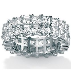DiamonUltra CZ Platinum over Sterling Silver Double Ring