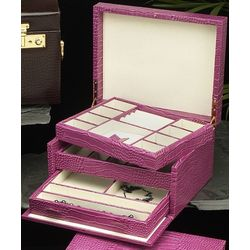 Multi-Level Pink Textured Leather Jewelry Box