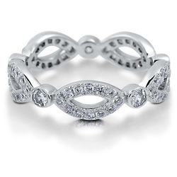 Clear Cubic Zirconia Sterling Silver Woven Eternity Ring