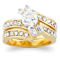 Two-Tone Cubic Zirconia Baguette Two Piece Wedding Ring