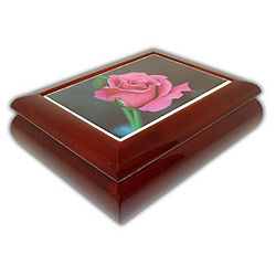 Pink Rose Music Jewelry Box