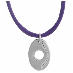 Open Oval Silver Pendant with Satin Cord