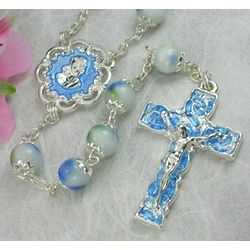 Blue Enameled Glass Bead Rosary