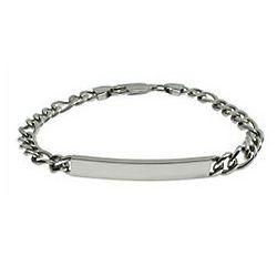 Slim Figaro Link Stainless Steel ID Bracelet