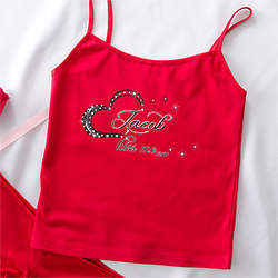 Rhinestone Heart Red Personalized Women's Camisole