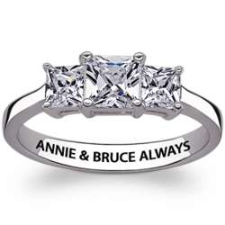 Sterling Silver 3 Stone Cubic Zirconia Engraved Promise Ring