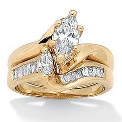 Marquise Cut Cubic Zirconia 14K Gold Plated Wedding Ring Set