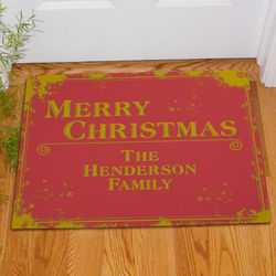 Merry Christmas Rustic Doormat