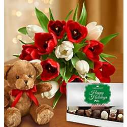 Jolly Holiday Tulips with Teddy Bear and Chocolate