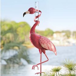 Handmade Metal Flamingo Rain Gauge