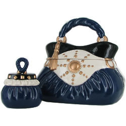 Navy Handbag Ceramic Cookie Jar