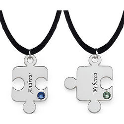 Personalized Puzzle Necklace for Couples with Birthstone