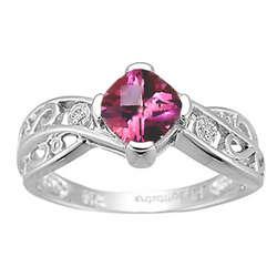 Diamond & Pink Topaz Ring in 14K White Gold