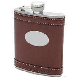 Banded Brown Liquor Flask with Engraving Plate