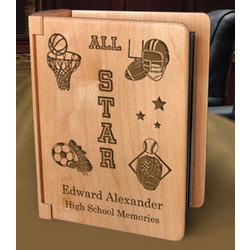Personalized All-Star Sports Wooden Photo Album