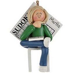 Sudoku Girl Personalized Christmas Ornament