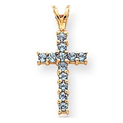 14kt Yellow Gold Blue Topaz Cross Pendant