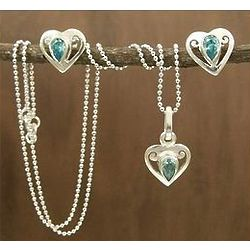 'Twinkling Hearts' Sterling Silver Jewelry Set