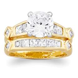 Two-Tone Two-Piece Cubic Zirconia Wedding Ring
