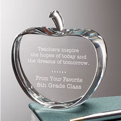 Personalized Crystal Apple for Teacher