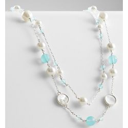 Mother of Pearl and Blue Chalcedony Station Necklace