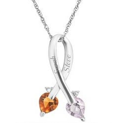 Sterling Silver Couple's Diamond Ribbon Necklace