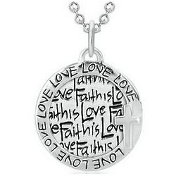 Sterling Silver Faith is Love Circle Necklace