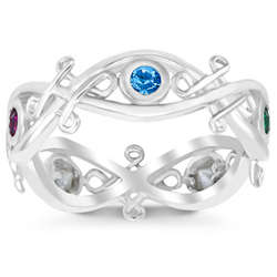 Sterling Silver Mother's Celtic Weave Birthstone Band