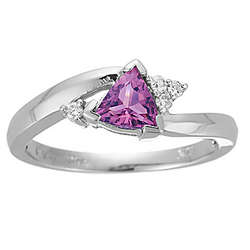 Trillion Pink Tourmaline and Diamond Ring