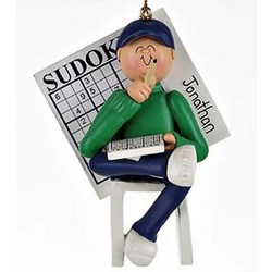 Sudoku Boy Personalized Christmas Ornament