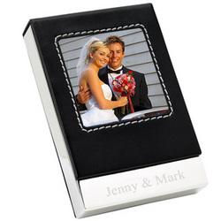 Leather Desktop Photo Business Card Holder