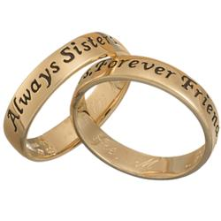 Sisters Sentiment Engraved Message Ring