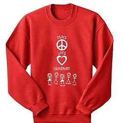 Personalized Red Peace Love Grandkids Sweatshirt