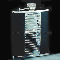 Black Leather Chrome Flask