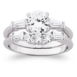 Cubic Zirconia Round and Baguette Wedding Ring Set