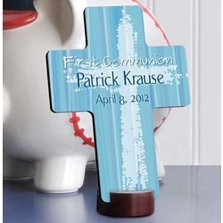 Personalized Blue The Light Of God First Communion Cross