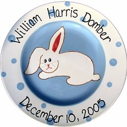 Personalized New Baby Bunny Plate