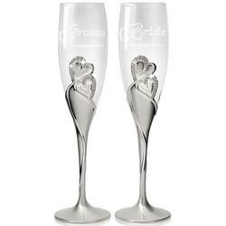 Bride and Groom Champagne Flutes with Swarovski Crystals