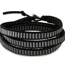Chen Rai Black and Gray Hematite Wrap Bracelet