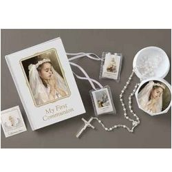 First Communion Book, Rosary and Accessory Set