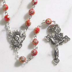 Ruby Glass Murano Floral Rosary