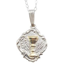 Sterling Silver Communion Medal with Gold Chalice