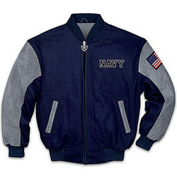 Men's Navy Pride Varsity-Style Jacket